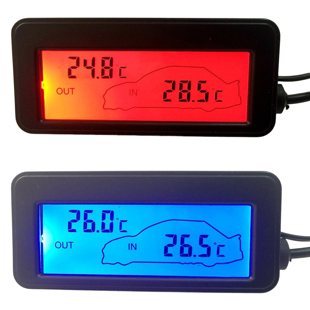 Auto Car LCD Thermometer DC12V Digital Thermometer Backlight Mini Thermometer LCD Car Inside Outside Thermometer Car Interior