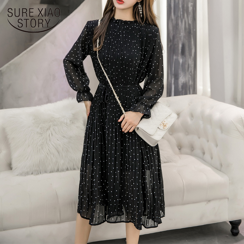 Black Vintage ClotheS Spring Lady Long Chiffon Dress 2019 New Korean Fashion Women Long Sleeved Polka Dot Pleated Dress  3670 50