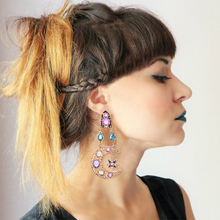 цена на HOCOLE Trendy Crystal Drop Earring Female Vintage Geometric Moon Sun Shape Rhinestone Dangle Earrings for Women Za 2019 Jewelry