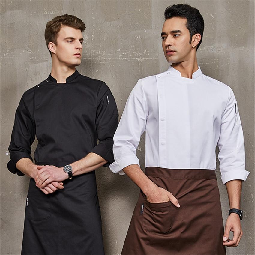 Yeni erkek şef üniforma ceket yemek servisi ceket uzun ve kısa kollu aşçı giyim suşi restoran mutfak iş elbiseleri