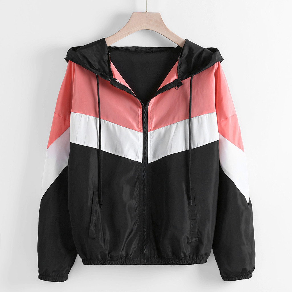 Thin hooded windbreaker jacket winter ladies casual long sleeved zipper color patchwork thin tights hooded sports jacket