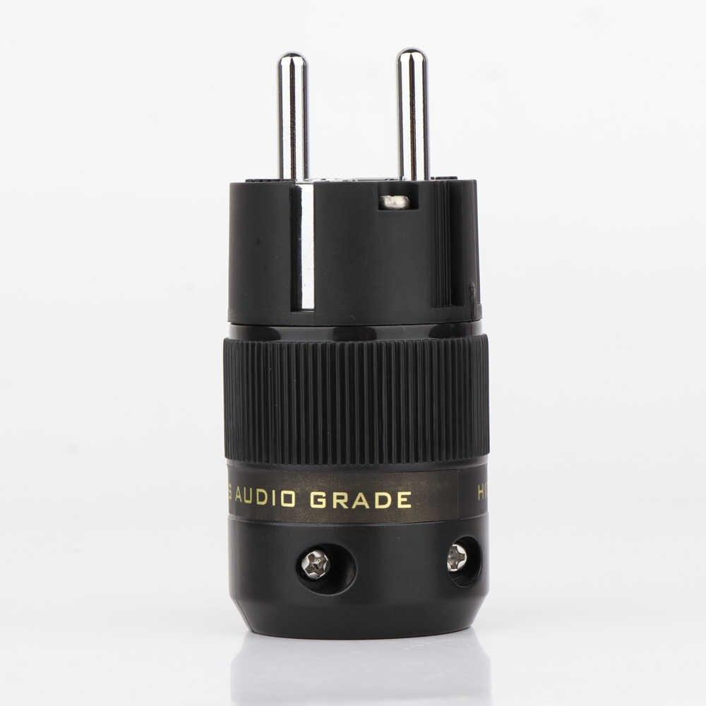 Hi-End Messing Eu Versie Stekker Hifi Audio Power Cable Connector Schuko Power Adapter Plug Voor diy Kabel