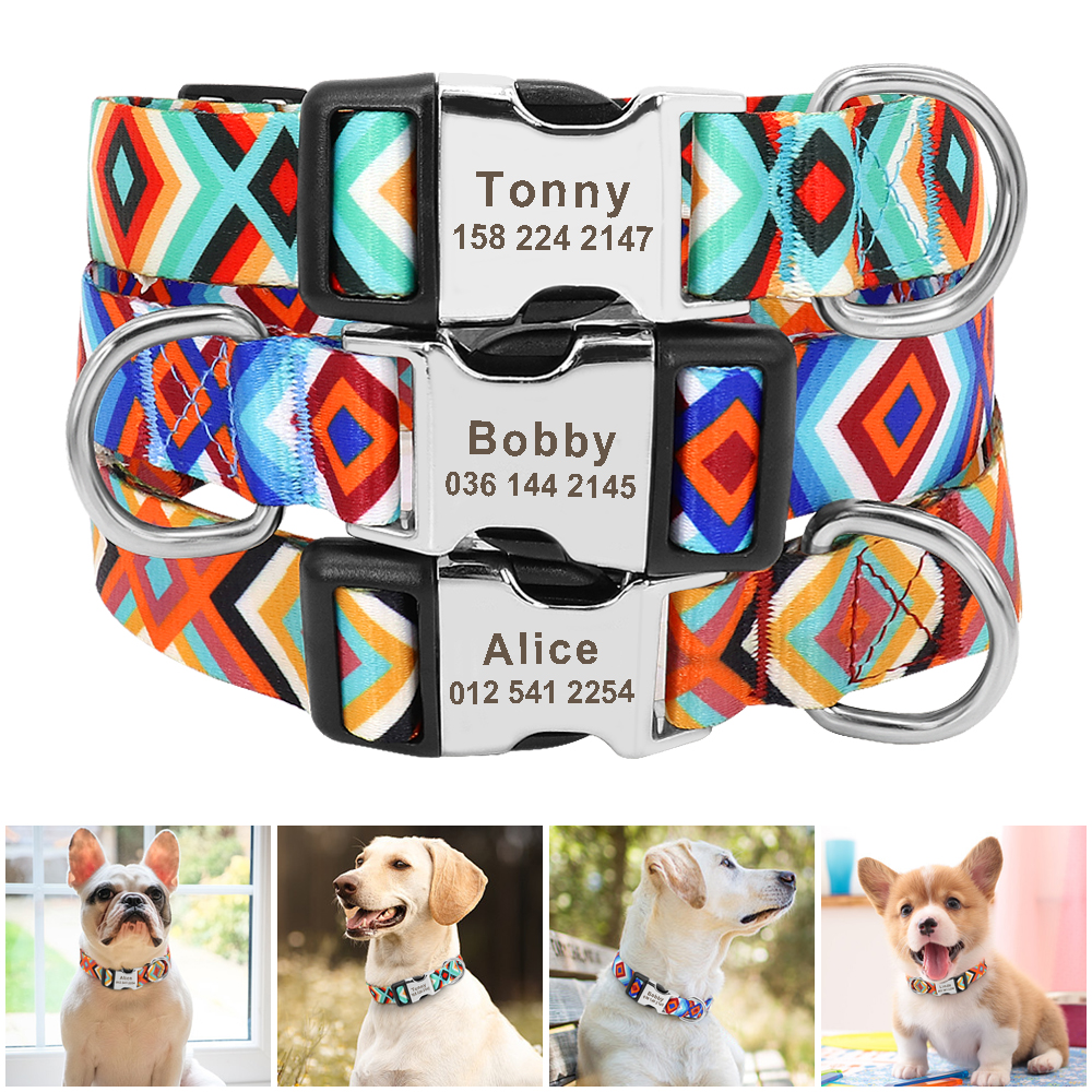 Personalized Dog ID Collar Nylon Customized Dogs Collar With Tag Nameplate Free Engraving For Small Medium Large Dogs Pitbull