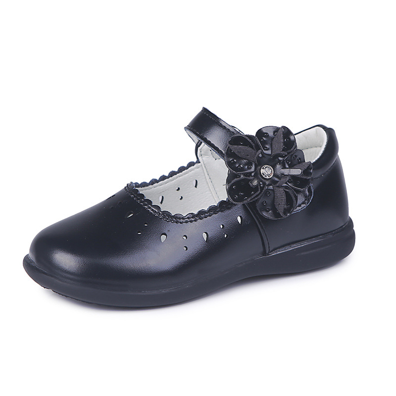 Kids Mary Jane Dress Flats Girls Princess Shoes Flower PU Leather Party Wedding Dress Shoes For Children School Shoe Black/White