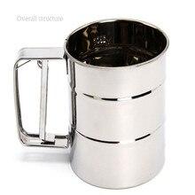 Mezclador de harinas de mano de malla de acero inoxidable taza tamizadora de glaseado de azúcar herramienta para hornear prensado a mano tamizadores de utensilios para hornear prensados a mano