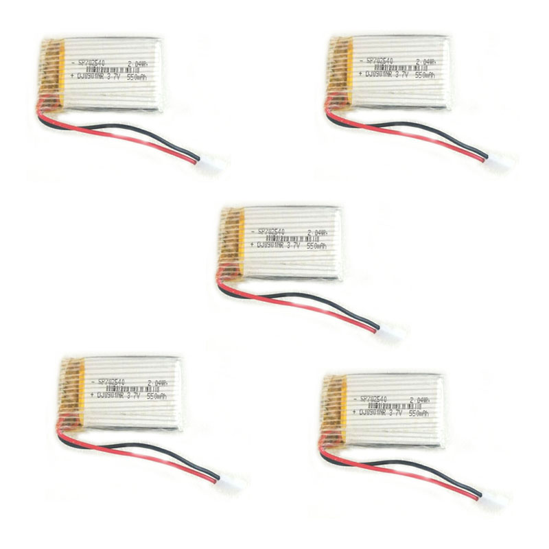 Lot 5PCS 3.7V 550mAh <font><b>702540</b></font> 752439 Lipo Polymer Lithium Rechargeable Battery For RC Car Robot Model Aeromodelling Aircraft Toys image