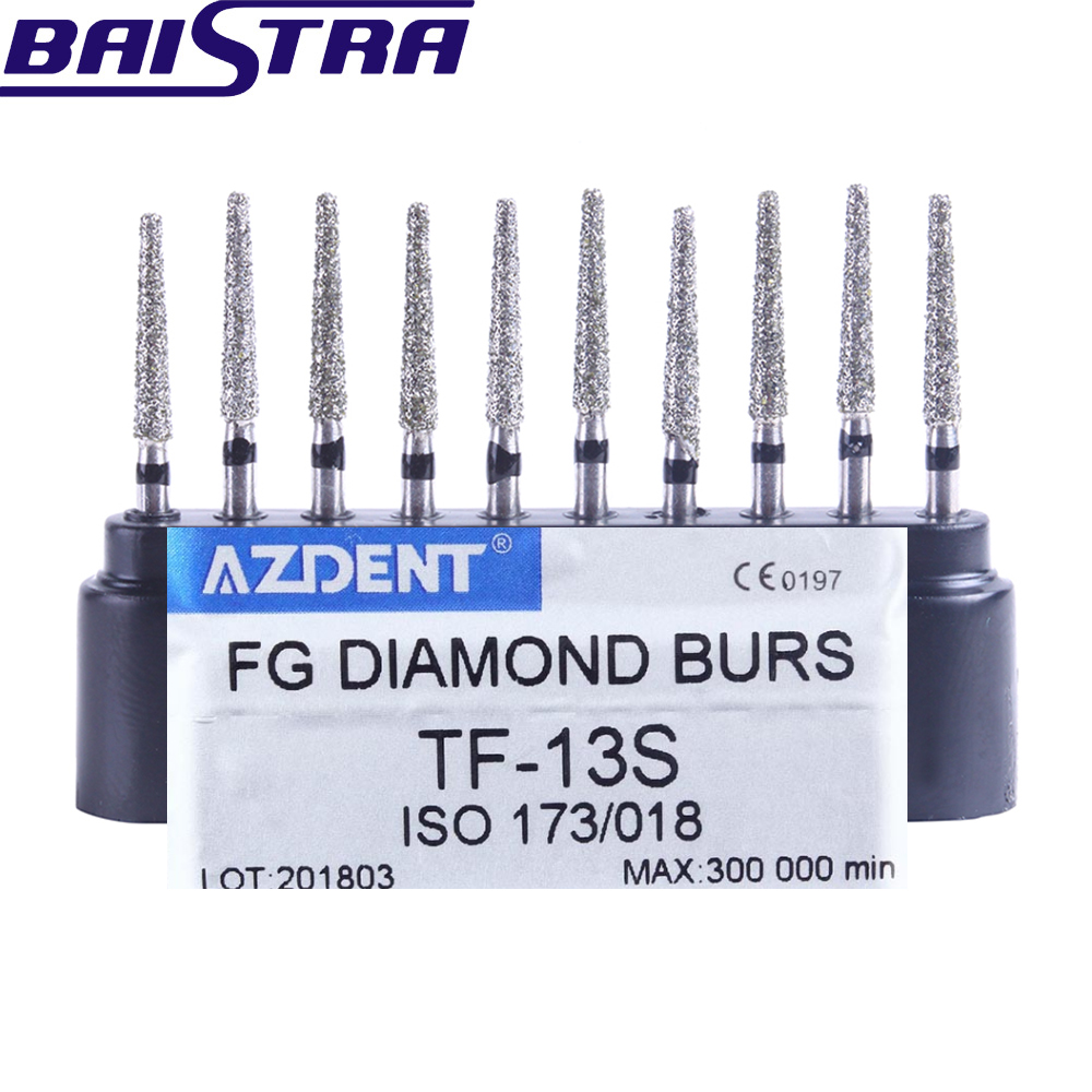 TF-13S 10 Pcs/set Dental High Speed Diamond Burs  Dentist Super Coarse Diamond Dental Lab Tools