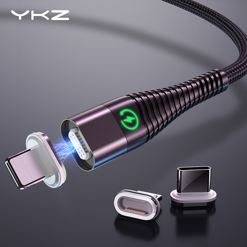 YKZ Magnetic Cable Micro Type C Cable LED Light 3A Fast Charging Magnet USB C Cable