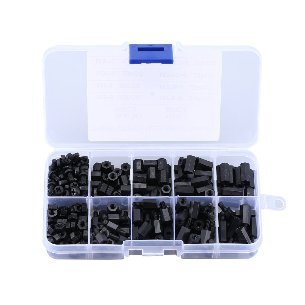 300PCS Black M3 Nylon Standoff Spacers Male Female Screw Hex Screws Nuts Repair Kits for Electronics Motherboard Fixed