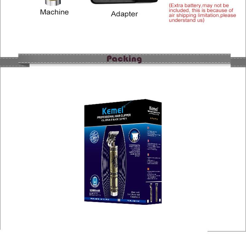 Kemei aparador de cabelo recarregável elétrica máquina