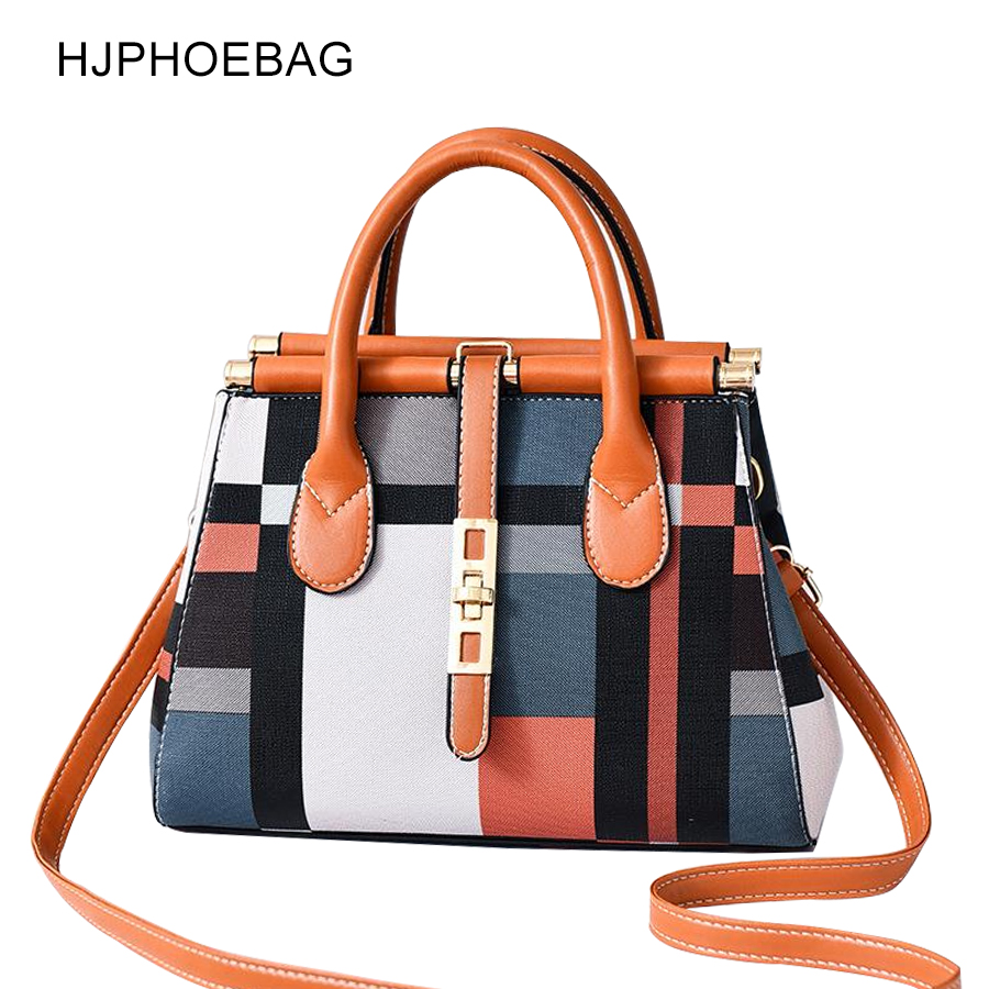 HJOHOEBAG  Brand Casual Plaid Shoulder Bag Stitching The Large Capacity Female Totes Crossbody Bags Women Leather Handbag YC257