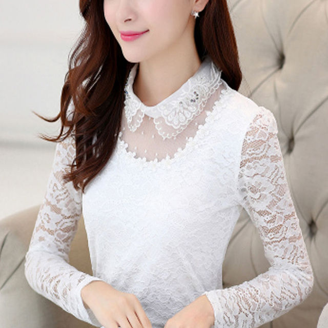 2020 Spring Autumn Women Hollow Long Sleeve Fit Lace Bottoming Shirt & Blouse Female Stitching Lace Tops & Blouse Plus Size 4XL 3
