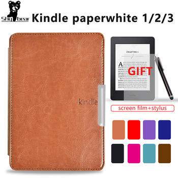 Slim Smart Cover Case for Amazon Kindle paperwhite 1 /2/3 Folio PU Leather kindle paperwhite 1 2 3 case gift film +stylus pen adsorption protective pu leather case for amazon kindle paperwhite purple