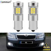 KAMMURI White Canbus P21W LED Bulb for Skoda Superb Octavia 2 MK2 FL A5 2009 2010 2011 2012 2013 LED DRL Reverse Lights Lamp