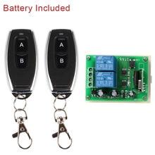 Switch com controle remoto universal qiachip, módulo de receptor e relé rf 12v dc 2 ch rf transmissor remoto de 433 mhz