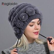 หมวกผู้หญิงฤดูหนาว WARM กระต่ายหมวกขนสัตว์ที่มีไข่มุกแฟชั่นลายธรรมชาติ FUR BOMBER หมวกหญิงหมวก