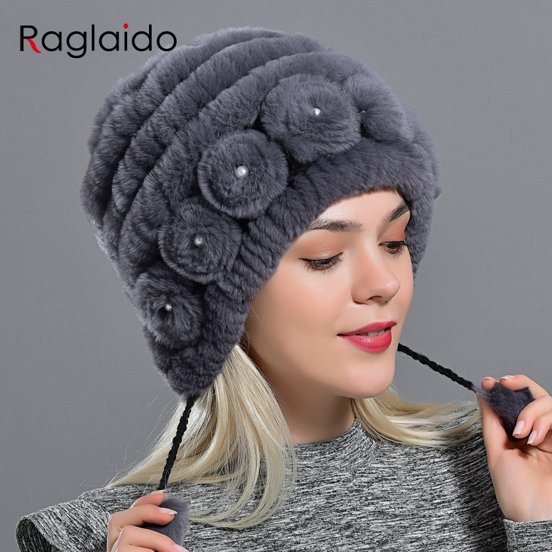 Women's Hat Winter Warm Rabbit Fur Hats With Pearls Fashion Striped Unique Design Natural Fur Bomber Hats Female Ball Caps