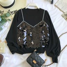 NiceMix Fake Two Piees Shinny Sequined Blusas Letters Print Grace Women Blouse 2019 Spring Autumn New Fashion Elegant Shirt(China)