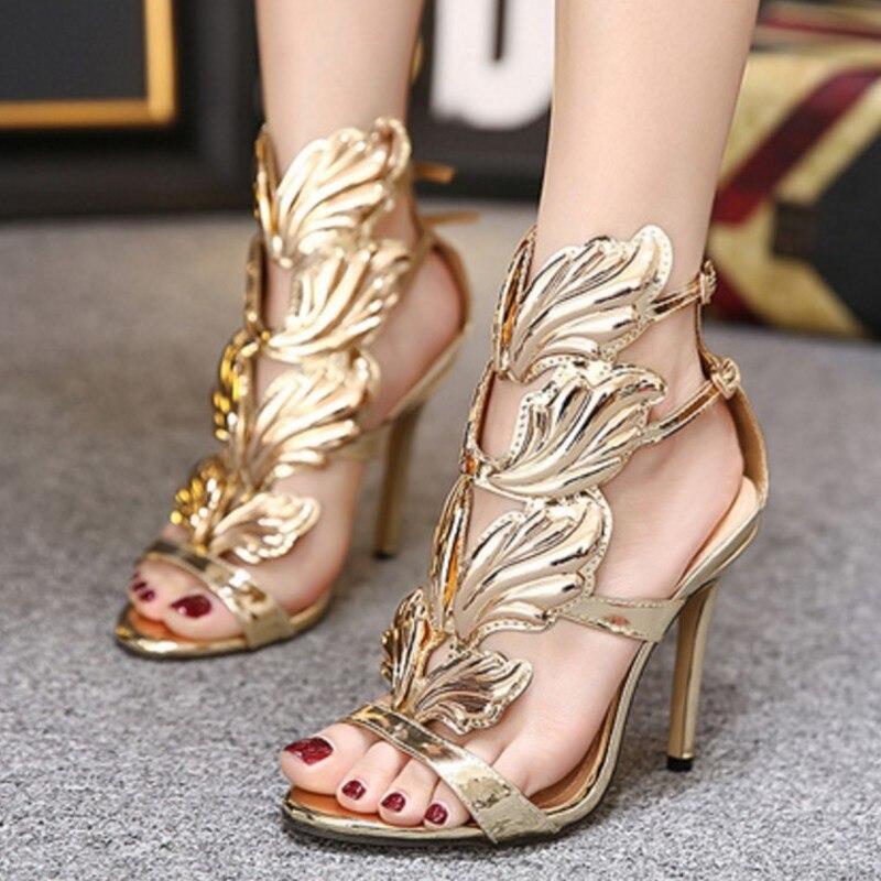 Fashion Summer Women Sandals Casual PU Buckle Strap metal wing Thin Heels 11CM High Heels Open Toed Women Shoes Sexy Pumps