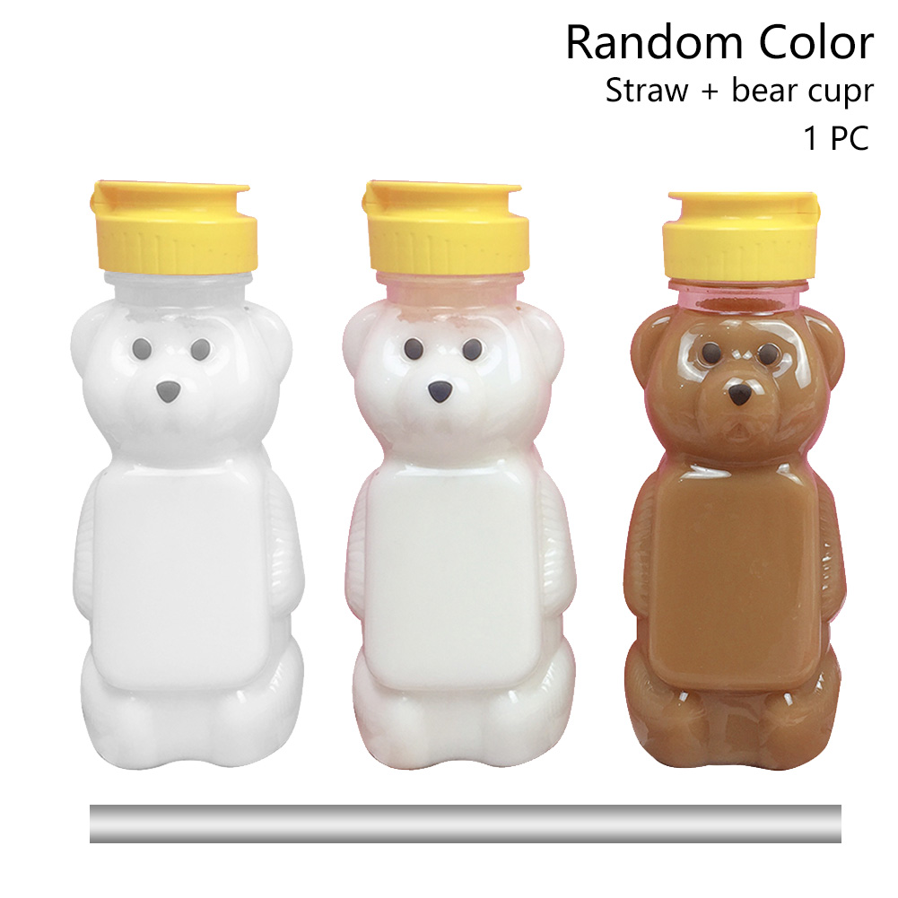 250ml Couples Cute Bear Cartoon Random Color With Lid Speech Therapy Straw Cup Training Water Bottle Drink Container Leakproof|  - title=