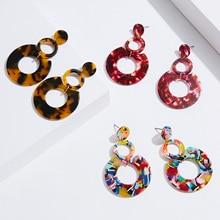 New Bohemian Geometric Acetate Women Earrings Big Roung Circle Drop Dangle Ladies Colorful Earring Jewelry