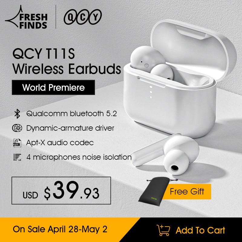 QCY T11S Bluetooth 5,2 динамично-арматурные действительно Беспроводные наушники с аудио кодеком Apt-X, быстрая зарядка,