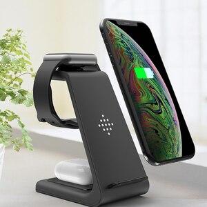 Image 4 - Carregador rápido 10W sem fio 3 em 1 QI, plataforma de carregamento para iPhone, fones da Samsung, Apple Watch 4 3 2 e Airpods Pro