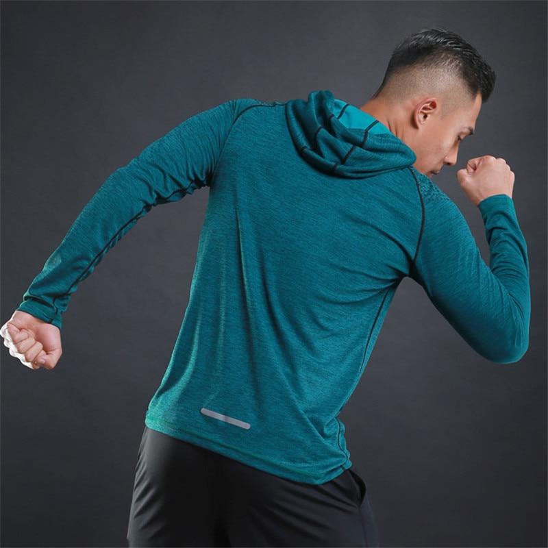2020 New Autumn Men's Sports Running Jacket Fitness Long Sleeve Hooded Tight Sportswear Yoga Fitness Jogging Sweatshirts Gym