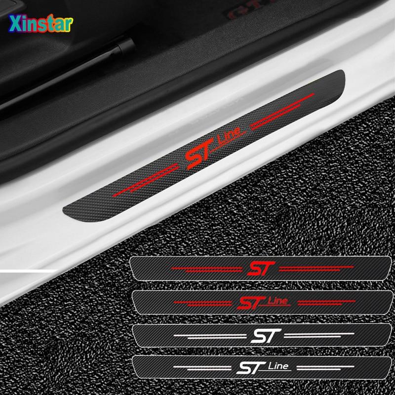Autocollants de protection de seuil de porte de voiture ST STLINE, 4 pièces, pour Ford Fiesta Mondeo Fusion Escape Edge Ecosport Kuga