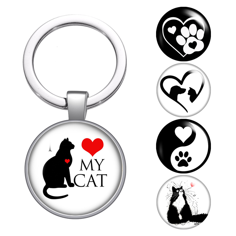 Love Cat pet footprints dogs glass cabochon keychain Bag Car key chain Ring Holder Charms silver color keychains for Women Gifts