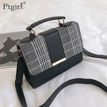 New Retro Plaid Small Square Package Ptgirl Minimalist Fashion Stitching Wild Messenger Shoulder Bag Ms. Packet handtassen dames
