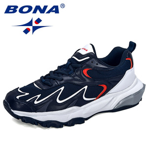 Image 1 - BONA 2019 New Popular Trendy Sneakers Men Shoes Casual Outdoor Comfortable Mesh Microfiber Breathable Man Footwear Non Slip