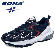 BONA 2019 ใหม่อินเทรนด์รองเท้าผ้าใบผู้ชายรองเท้าสบายๆกลางแจ้งสบายตาข่ายไมโครไฟเบอร์Breathableชายรองเท้าลื่น