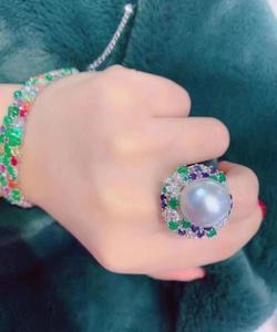Image 5 - D113 Fine Pearl แหวนเครื่องประดับ 925 เงินสเตอร์ลิงธรรมชาติสดน้ำ 15 14mm สีขาว Peals แหวน fine ไข่มุกแหวน