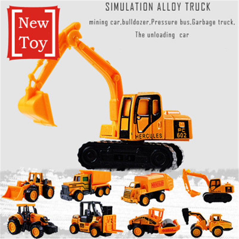 8 Styles Mini Alloy Engineering Car Model Tractor Toy Construction Vehicle Engineering Cars Excavator Model Toys For Children