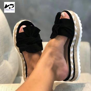 2020 Summer Fashion Sandals Shoes Women Bow Summer Sandals Slipper Indoor Outdoor Flip-flops Beach Shoes Female Slippers hot 2019 fashion woman flip flops summer shoes cool beach rivets big bow flat sandals brand jelly shoes sandals girls size 36 41