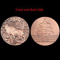 Año 2021 del Buey Gran Medalla de cobre moneda conmemorativa medalla en relieve del zodiaco