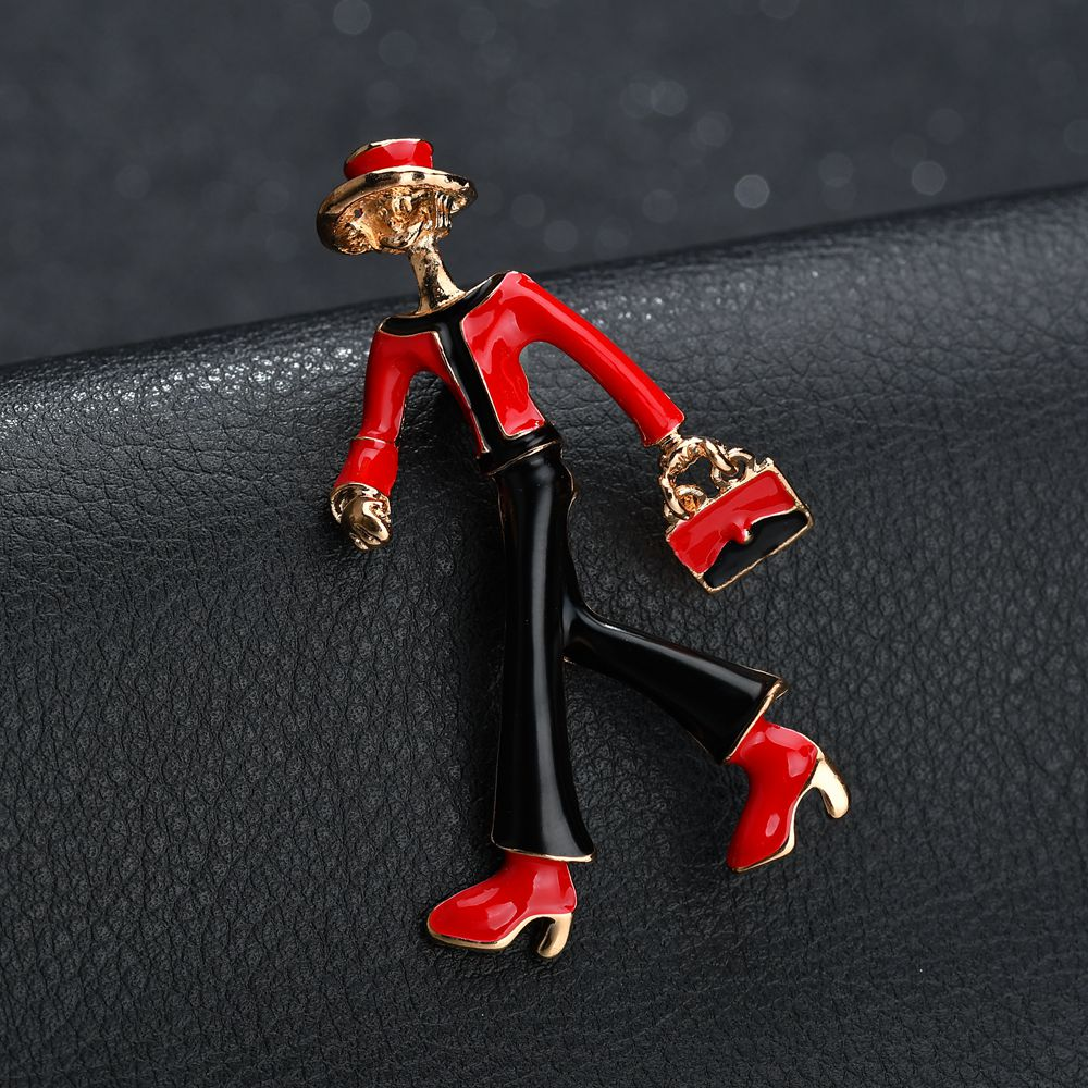 Gariton Enamel Red Black Walking Women Girls Bag Brooches Pines For For Hats Scarf Suit Accessories Banquet Jewelry in Brooches from Jewelry Accessories