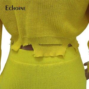 Image 5 - אופנה סתיו חורף סוודר שתי חתיכה להגדיר נשים ארוך שרוול סרוג יבול למעלה מיני חצאית מקרית חליפות Streetwear סטים תואמים