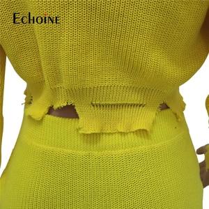Image 5 - ファッション秋の冬のセーター 2 個セット女性長袖ニットクロップトップミニスカートカジュアルスーツストリートマッチングセット