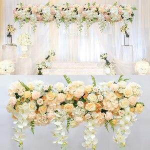 Jedwabny materiał kwiatowy tło główne drzwi projekt kwiaty ogród łuk ślubny