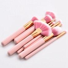 10 Pcs Pink Makeup Brushes Makeup Kit Cosmetic Blush Powder Foundation Brush Cosmetic Makeup Tool недорого