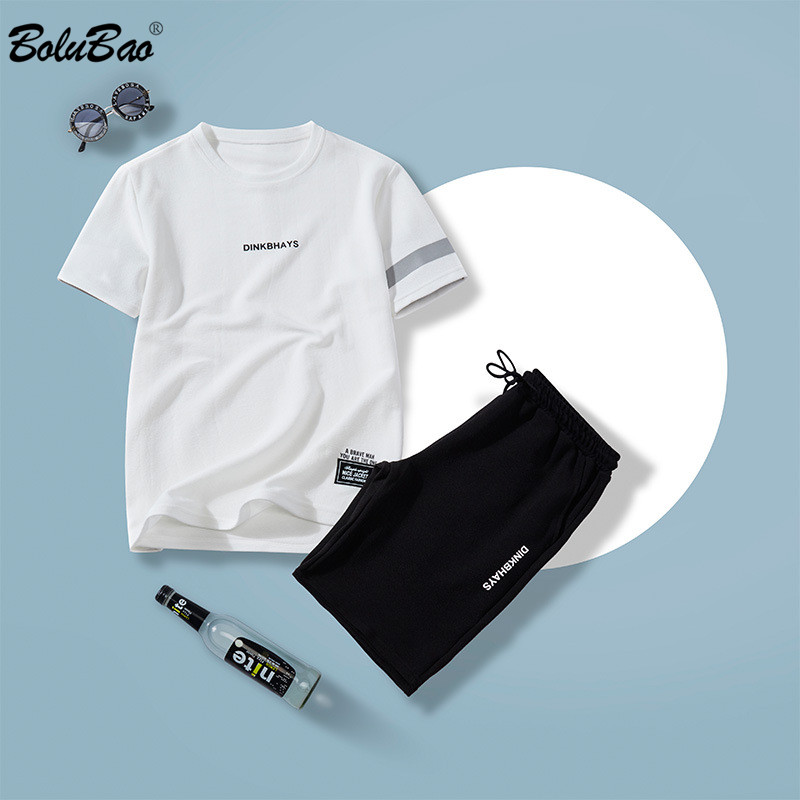 BOLUBAO Brand 2020 Men Sets 2 Piece Summer New Men' S Fashion T Shirts + Joggers Shorts Set Casual Tracksuit Suit Male