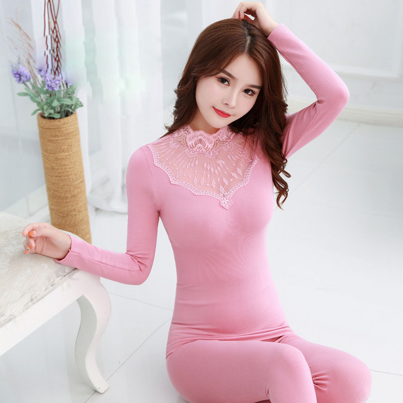 Black Pink Bodycon Lace Thermal Winter Clothing For Women Thermal Underwear Sexy Mesh Elegant Second Skin Female Long Johns Suit