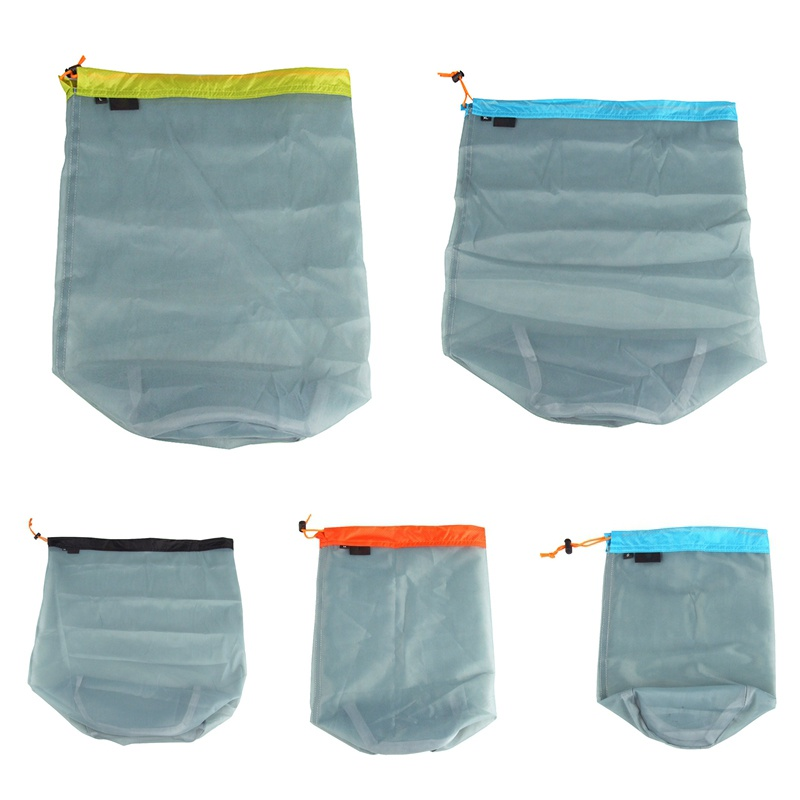 New Ultralight Drawstring Mesh Stuff Sack Storage Bag For Outdoor Tavelling Camping Hike Climbing Laundry Cloth Pouch Clothing