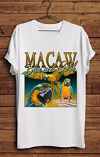 Macaw T Shirt Blue and Gold Yellow Parrot Bird Vintage Homage Tropical Cute(China)