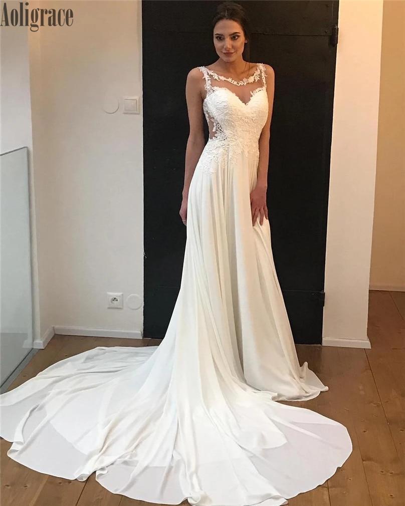 Luxury Lace Wedding Dresses Sheer Neck Illusion Appliques Sweep Train Country Style Bridal Gowns Garden Vestidoe De Noiva Custom