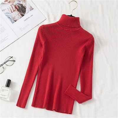 2020 AUTUMN Winter women Knitted Turtleneck Sweater Casual Soft polo-neck Jumper Fashion Slim Femme Elasticity Pullovers 13