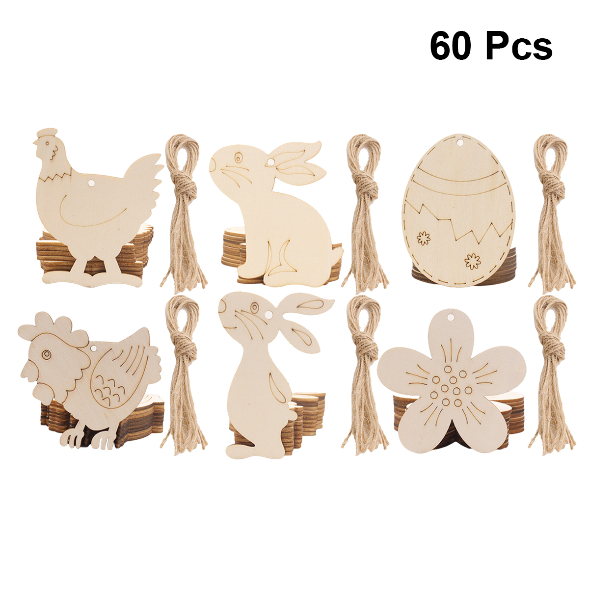DIY Wooden Rabbit Easter Wood Chips Hanging Ornaments Easter Decorations
