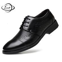 Мужские модельные туфли; сезон весна-осень; мужские кожаные туфли на шнуровке с острым носком; нескользящая открытая кожаная мужская обувь; h61